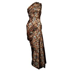 Givency Couture 1950s Printed Devoré Silk Velvet Gown | From a collection of rare vintage evening dresses and gowns at https://www.1stdibs.com/fashion/clothing/evening-dresses/