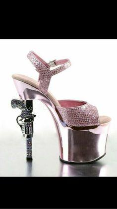 2c23be60eedc Pleaser Pistol Gun Stripper Dancer Heels Pink Rhinestone Silver Sexy 7