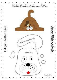 Dog with mold - Diy Felt Animal Sewing Patterns, Felt Patterns, Felt Christmas Ornaments, Christmas Dog, Dog Crafts, Felt Crafts, Dog Template, Daisy Dog, Pillow Crafts