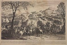 A print of the Battle of Culloden, the Jacobite supporters were led by Prince Charles Edward Stuart and the government troops were led by the Duke of Cumberland. The government's victory effectively brought the 1745 Jacobite Rising to an end.  The print shows the scene from the British perspective, with the British army standing in rank and file – a stark contrast to the disarray of the Highlanders. The Duke is the figure on the white horse in the centre of the composition. Otto Von Guericke, Pneumatic Tube, Cicely Mary Barker, Silver Frames, Photo Corners, White Horses, Illustrations, How To Antique Wood, Artist Names