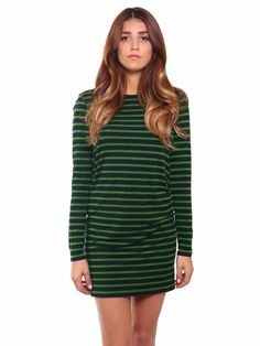 MICHAEL Michael Kors | Striped Semi-Fitted Dress in green & navy www.sabrinascloset.com
