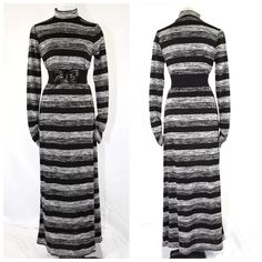"""Black Gray Stripe Belted Maxi Sweater Dress Small Maxi Dress Size Small   Beautiful dress!!!  I love this color combination on just about any clothing.  Black, gray & white.  Can be worn with or without the belt.  Looks great either way.  Belt is included.  Love the ruching on the ends of the sleeves.  An outstanding addition to any wardrobe.  Lots of stretch to this dress for a perfect fit.  97% polyester & 3% spandex.   Armpit to armpit 34""""-39"""" Shoulder  18""""-20""""  Sleeve Length 27""""  Waist…"""