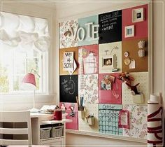 Use cork board squares and cover some with scrapbook paper, magnetic paint, and chalkboard paint.  Love this!!