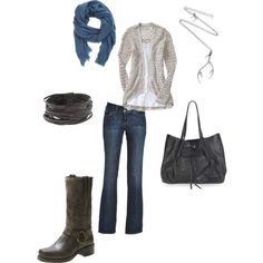 """My first foray into Polyvore! Tried to go for something that I would wear on any given day (assuming that I had the energy and the money to actually achieve a """"style""""). My style is straightforward: jeans and t-shirts with a little extra flair. Maybe a hard edge when I am feeling sassy. Something hand-crafted whenever possible."""