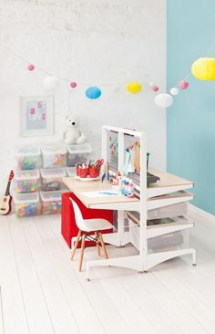 elfa® Free Standing Kids Play Station with Birch Décor. An organised kids workstation one day, whatever your heart desires the next! Available at Howards Storage World. Kids Bedroom Organization, Home Organisation, Playroom Decor, Playroom Storage, Storage Room, Toy Storage, Storage Ideas, Elfa Shelving, Custom Shelving