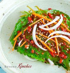Perilla leaf Kimchi (Kkatnip Kimchi) is Popular summer Korean Kimchi made with Perilla plant leaves and fresh chilies