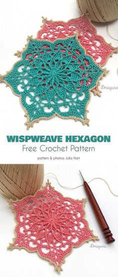 Wispweave Hexagon Free Crochet Pattern Very attractive and unique decoration . Wispweave Hexagon Free Crochet Pattern Very attractive and unique decorations for your home. , Wispweave Hexagon Free Crochet Pattern Very attractive . Mandala Au Crochet, Crochet Circles, Crochet Doily Patterns, Crochet Squares, Thread Crochet, Crochet Crafts, Crochet Doilies, Crochet Stitches, Crochet Projects