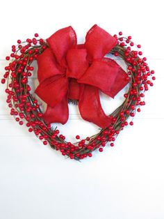 Heart Wreath Valentine Wreath Red Valentine Decor by Dazzlement...