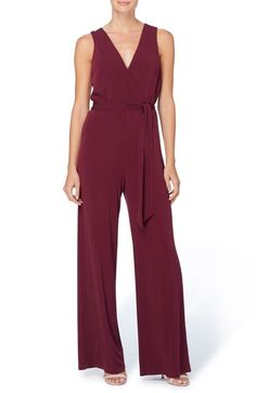Catherine Catherine Malandrino Darlene Belted Surplice Jersey Jumpsuit available at #Nordstrom