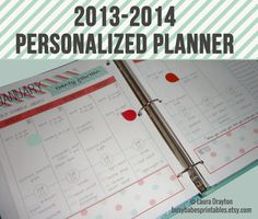 2013-2014 Personalized Planner - Monthly Calendars - Weekly Planner - Meal Planner - Notes - Printable - FAST DOWNLOAD