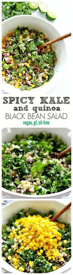 Spicy Kale and Quinoa Black Bean Salad - vegan, gluten free and oil-free. Crunchy, savory, spicy and absolutely delicious! A crowd-pleasing salad. From The Glowing Fridge. (Chicken And Quinoa Recipes) Kale Recipes, Whole Food Recipes, Vegetarian Recipes, Cooking Recipes, Healthy Recipes, Vegetarian Salad, Recipies, Healthy Salads, Soup Recipes