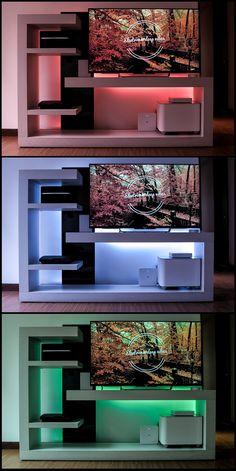 Retroiluminación de mueble de entretenimiento con tecnologia LED inteligente. | Backlighting of entertainment cabinet with intelligent LED technology. #PhilipsHUE #IluminacionInteligente #Domotica #Tecnologia #IluminacionLED