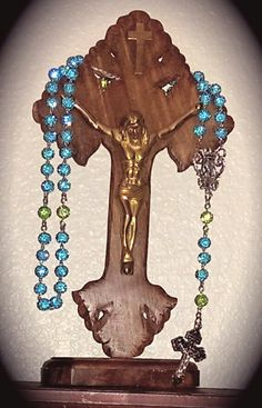 Teal with green rosary.. for orders mimiandlola@gmail.com