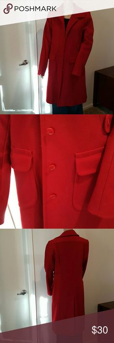 Wool Red Pea Coat Gorgeous 100% wool long peacoat from Victoria's Secret clothing line Moda International. Fully lined in red satin. True red as best depicted in 2nd and 4th photos. Size 10 Tall. Measurements coming soon. Great condition with slight signs of wear. No fading and no pulling in the lining. Timeless winter style that will be a staple piece for classic Jackie O style, modern sleek, and vintage perfection alike. Victoria's Secret Jackets & Coats Pea Coats