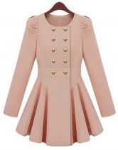 Pink Long Sleeve Double Breasted Flare Hem Slim Trench Coat