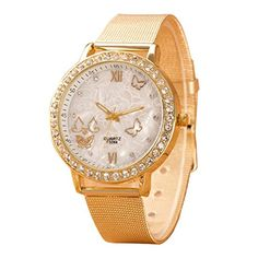 Coromose Women Butterfly Display Crystal Roman Numerbers Mesh Band Wrist Watch ** Click on the image for additional details.Note:It is affiliate link to Amazon.