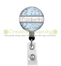 Retractable ID Badge Reel Personalized Blue and by CreativeSanity, $7.50