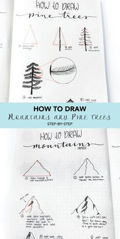 How to draw mountains and pine trees. Step-by-step tutorial of how I draw my mou… How to draw mountains and pine trees. Step-by-step tutorial of how I draw my mountains and pine trees in my bullet journal with bujo cover and weekly spread. Bullet Journal Notebook, Bullet Journal Ideas Pages, Bullet Journal Inspiration, Sketch Video, Mountain Drawing, Bujo Doodles, Tree Sketches, Step By Step Drawing, Easy Drawings