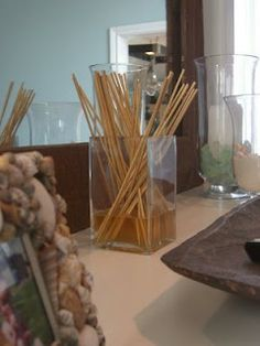 Homemade room diffuser: your own vase, wooden skewers, and scented Mrs. Meyers soap.