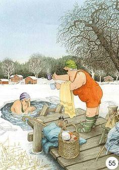 New single postcard by Inge Look old ladies winter swimming Old Lady Humor, Image Originale, Look Older, Norman Rockwell, Whimsical Art, Old Women, Getting Old, Illustrators, Folk Art