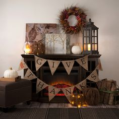 Style your home for the season with burlap, faux white pumpkins, lanterns and art.