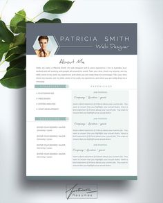 "Resume Template 3 page / CV Template + Cover Letter / Instant Download for MS Word / ""Patricia"""