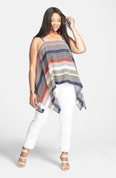 Vince Camuto Stripe Drape Tank & Two by Vince Camuto Skinny Jeans (Plus Size)