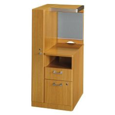 Quantum Left Storage Tower by Bush Furniture. $257.16. Some assembly required, includes timesaving ready-install features. Locking file drawer, box drawer, and vertical closet; open shelf and cubbyhole; fabric-covered tack board; back cutout for wire management. Measures 23 inches wide by 23-1/2 inches deep by 53 inches high. Durable melamine construction with warm Modern Cherry finish and sleek satin-silver accents. Place next to any 24-inch deep work surface to c...