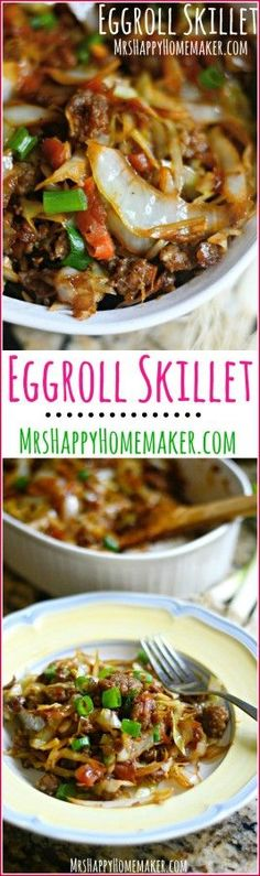 (260 kcal) Love Egg Rolls? Well, I've got a dish for you! All the egg roll flavors you love all cooked up into one yummy one dish meal! Egg Roll Skillet, y'all! | MrsHappyHomemaker.com @thathousewife