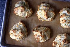 Blue Cheese Scallion Drop Biscuits: I've made these a bunch of times. They're great with soups and stews. I usually substitute whatever type of sharp/flavorful cheese I have on hand. Always good and they freeze beautifully!