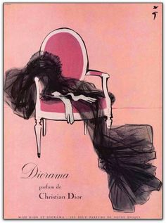 """Ilustrações de René Gruau para as campanhas de Dior   A história de René Gruau está intimamente ligada à marca Dior e seu estilista : ambos são jovens ilustradores com cerca de vinte anos de idade quando eles se encontram em 1930 no Figaro.  http://sergiozeiger.tumblr.com/post/110097829948  Em 1947, seu amigo Christian Dior, lhe encomenda o desenho publicitário da primeira fragrância Miss Dior, assim como a famosa jaqueta """"Bar"""" símbolo do New Look."""