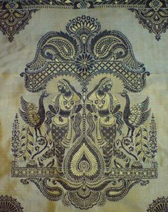 Design Discover A Magazine of Many Arts Baluchari Saree Cushion Embroidery Indiana Border Embroidery Designs Madhubani Art Indian Folk Art Indian Patterns Indian Textiles Fabric Painting Cushion Embroidery, Diy Embroidery, Cross Stitch Embroidery, Indian Patterns, Textile Patterns, Print Patterns, Baluchari Saree, Indiana, Border Embroidery Designs