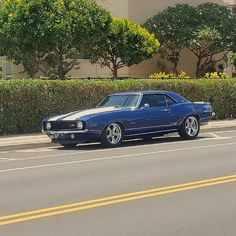 Happy aloha Friday checkout this beautiful classic Camaro we spotted!  #protecautocare #engineflush #carrepair #chevy #chevorlet #camaro #classic #american #muscle #car #blue #z28 #chrome #rims #white #rallystripes #1969 #1969camaro #friday #pic #followus