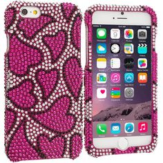 Nightly Hearts Bling Rhinestone Case Cover for Apple iPhone 6 Plus 6S Plus (5.5)