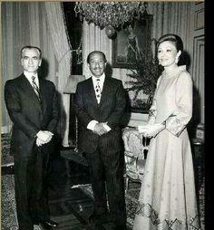 السادات و شاه إيران وزوجته فرح ديبا