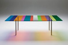 Colorful Striped Glass Table - Piero Lissoni: Made of glass rescued from the floor of Glas Italia.