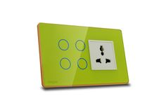 Hogar Controls Designer Smart Touch Switch Panels - z-wave zigbee - 4 touch plus universal socket Green on Gold white bazzle side view