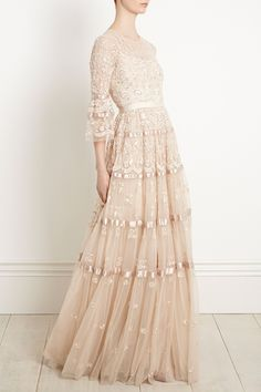 A Line Wedding Dress With Sleeves, Classic Wedding Dress, Dresses With Sleeves, Beautiful Gowns, Beautiful Outfits, Needle And Thread Dresses, Colored Wedding Gowns, Dream Dress, Pretty Dresses