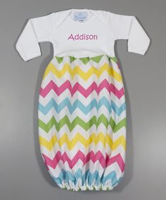 Loving this Princess Linens Layette White & Rainbow Chevron Personalized Gown - Infant on Zulily!
