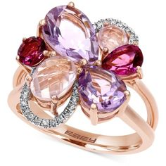 Mosaic by Effy Diamond Accent and Multi-Stone Flower Ring in 14K Rose... ($2,350) ❤ liked on Polyvore featuring jewelry, rings, multi, pink ring, pink rose gold ring, flower ring, pink jewelry and multi stone rings