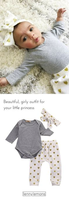 FREE USA SHIPPING! UP TO 40% OFF. Adorable daytime outfit, can also be used for sleeping. Super Soft, made of cotton. Comes with 3 pieces: Headband, pants, + bodysuit. Great baby shower gift idea! Baby Girl Photography. Lenny Lemons Baby and Toddler Apparel.
