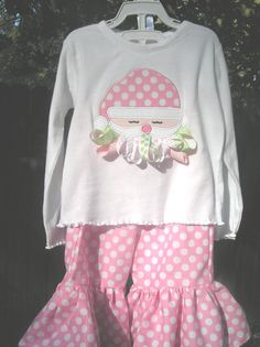 Santa Ribbon Ruffle Shirt and Matching Pant Set by juliesonny, $47.99
