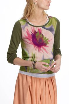 Knit tee, print front, solid sleeves, back and neck binding. Great idea for when you have small pieces of fabric,