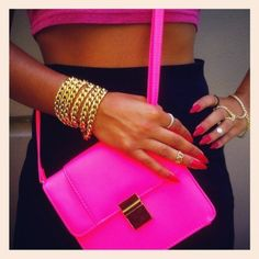 accessories, bag, bracelets, fashion, girl, girly, hand, nail, neon, nigga, photography, pink, ring, sexy, swag, wow
