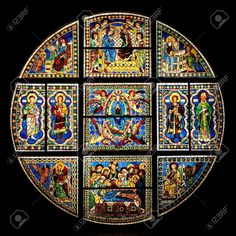 Vidriera del Duomo de Siena, Italia.