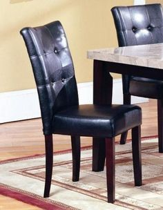 Roundhill Furniture 5-Piece Dark Artificial Marble Top Dinette Dining Set, Includes Table with 4 Chairs  Collection with 1 table and 4 chairs, our 5 PC Faux Marble Top Dining Set is a must-have element for your modern kitchen. Contemporary design but can fit all kinds of styles, a handsome set your guests will love! This dinette features a faux marble top with dark cappuccino hardwood frame. Each parson chair features a leather looking padded back. With its beautiful contemporary sty..