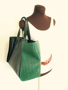 Upcycled Dot Genuine Leather and Layflat Bag