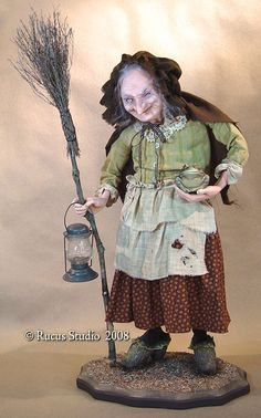 Old Crone © Rucus Studio 2008 (maybe wild Bess character? Halloween Doll, Vintage Halloween, Fall Halloween, Baba Yaga, Troll, Scott Smith, Polymer Clay Dolls, Witch Art, Fairy Dolls