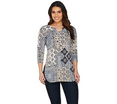 Susan Graver Printed Liquid Knit 3/4 Sleeve Tunic with Enamel Chain
