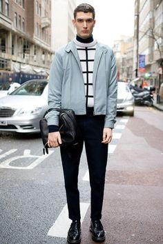 Loving this look. The pop of colour on a monochrome base is a great look. For spring, I'd swap that jumper for a similar t-shirt.